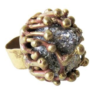 Pal Kepenyes Pyrite Bronze Brutalist Ring For Sale