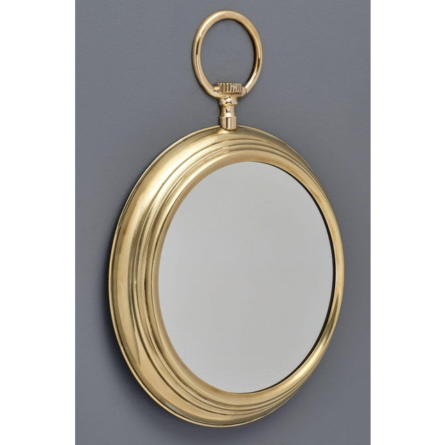 Gold French Brass Vintage Pocket Watch Mirror For Sale - Image 8 of 10