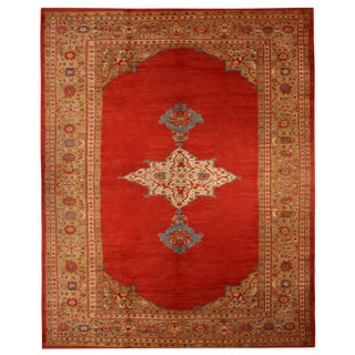 Antique Sultanabad Red and Blue Wool For Sale