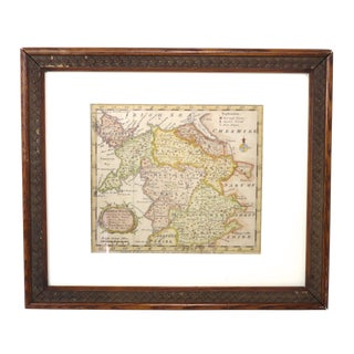 1762 Antique North Wales Framed Map For Sale