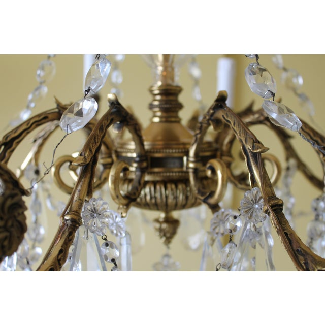 Late 19th Century 19th Century Maison Bagues Palm Motif Eight Light Crystal & Bronze Chandelier = Neoclassical Style For Sale - Image 5 of 13