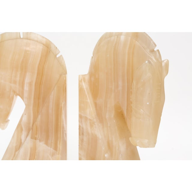 Boho Chic Oversize Large Vintage Marble Horse Head Bookends - A Pair For Sale - Image 3 of 8