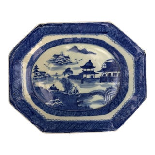 Chinese Blue & White Stoneware Platter For Sale