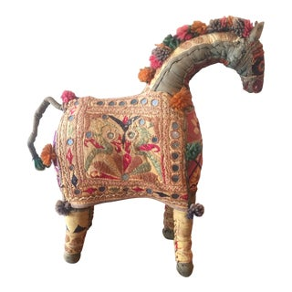 Vintage Rajasthan Hand Embroidered Indian Horse For Sale