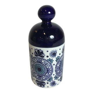 Lidded Arabia Blue Container For Sale