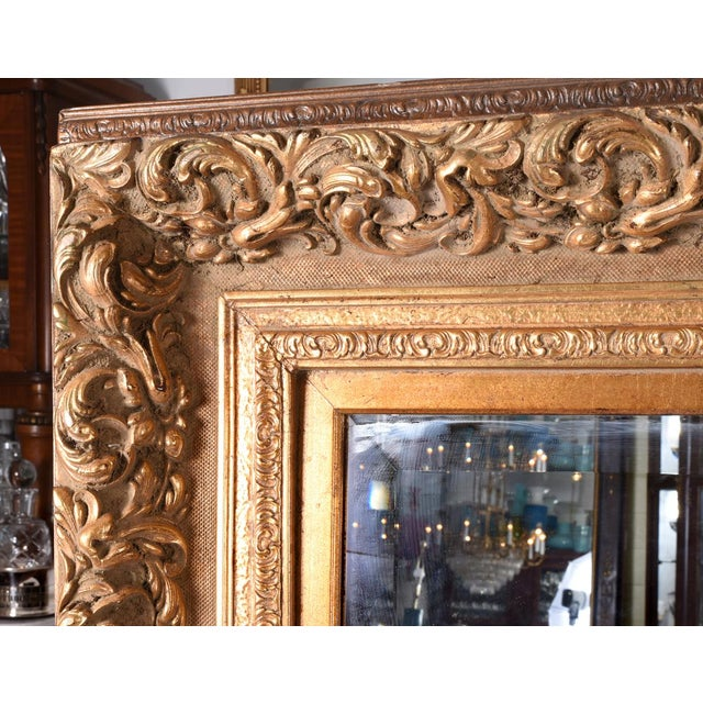 Traditional 1920s French Vintage Large Beveled Giltwood Frame Wall Mirror For Sale - Image 3 of 7