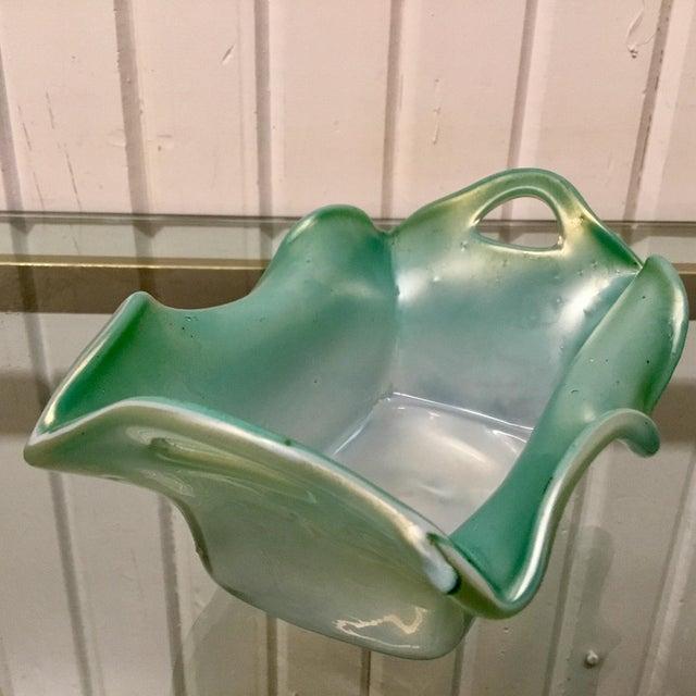 Kralik Glassworks Kralik Blue Iridescent Pierced Art Glass Vase For Sale - Image 4 of 7
