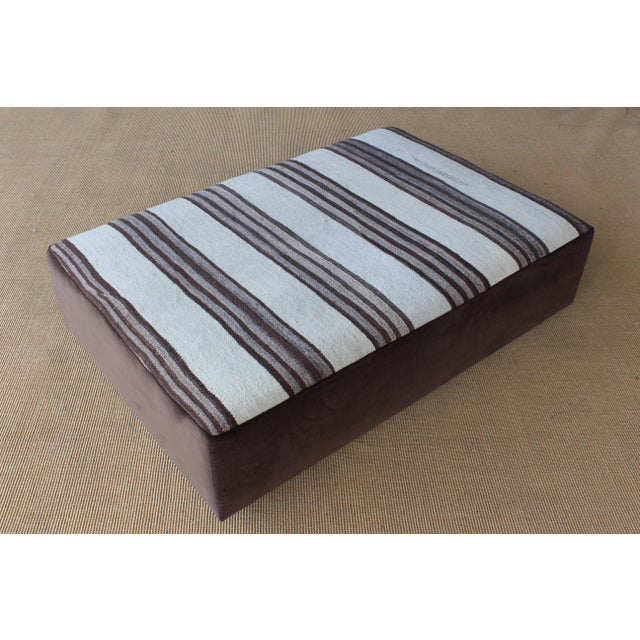 White Upholstered Ottoman in Vintage Striped Navajo Rug For Sale - Image 8 of 11