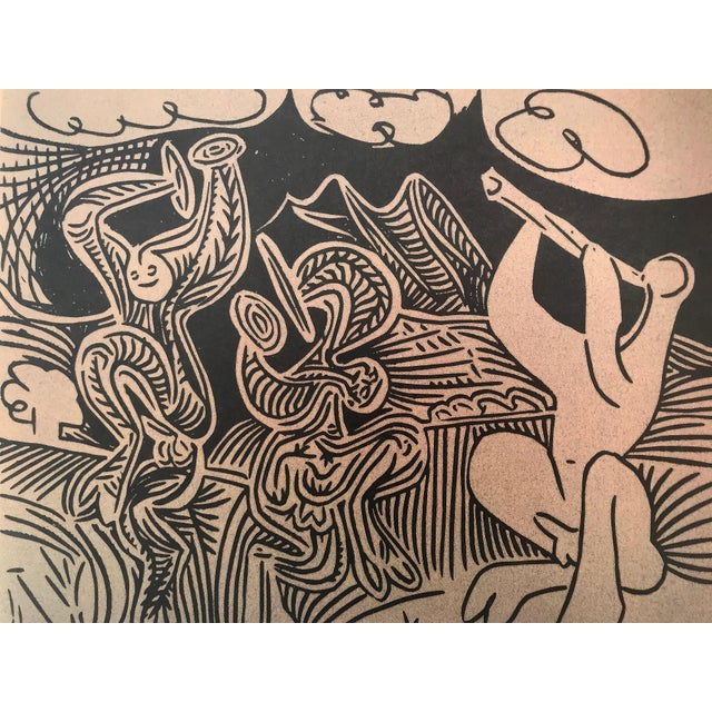 "Abstract Vintage Picasso Linocut ""Danseurs Et Musicien"" For Sale - Image 3 of 6"