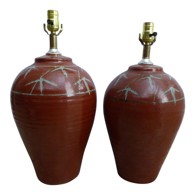 Vintage Studio Pottery Table Lamps - A Pair For Sale
