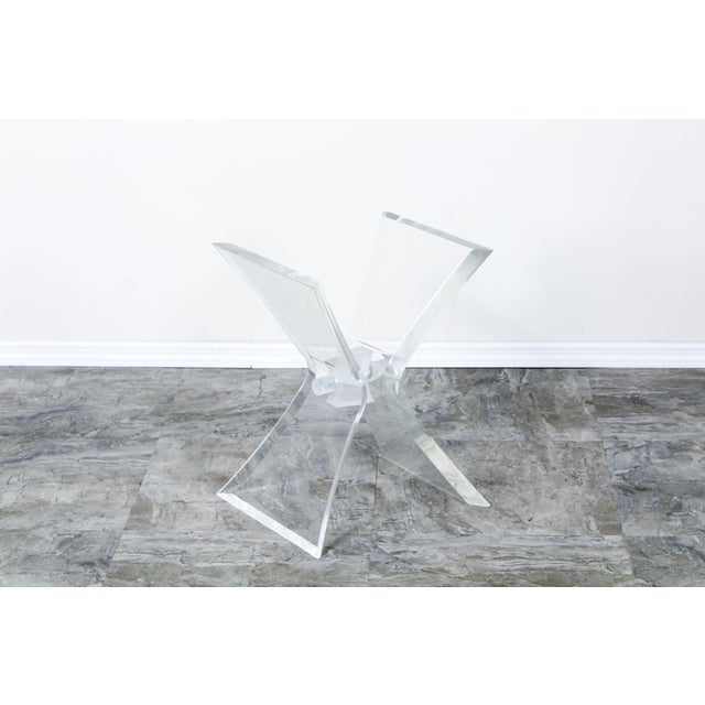 Transparent Lucite Butterfly X Base Side Table For Sale - Image 8 of 10