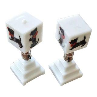 Milk Glass Scottie Dog Lamps - a Pair For Sale