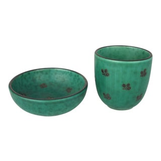 Gustavsberg Pottery Dish & Cup, S/2 For Sale