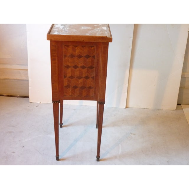 Brown Marquetry Inlaid Night Table For Sale - Image 8 of 9