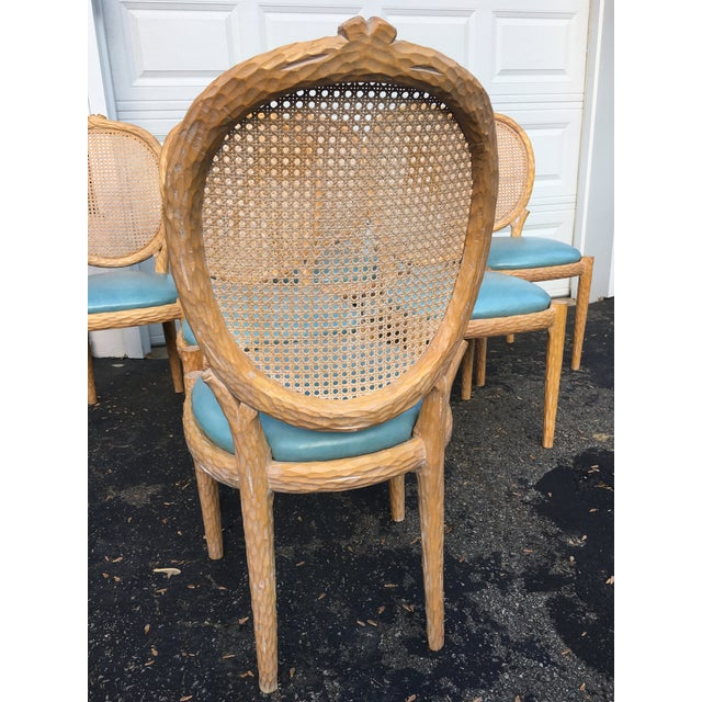 1970s Vintage Faux-Bois and Cane Dining Chairs- Set of 6 For Sale - Image 9 of 11