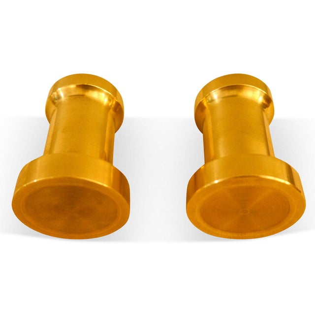 Heavy Brass Billet Candleholders For Sale - Image 5 of 5