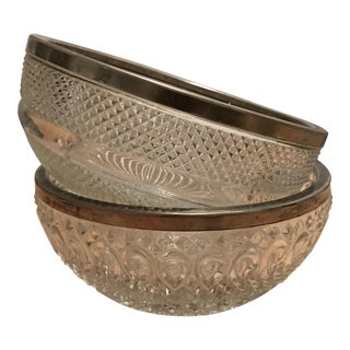 Metal Rimmed Glass Bowls - A Pair