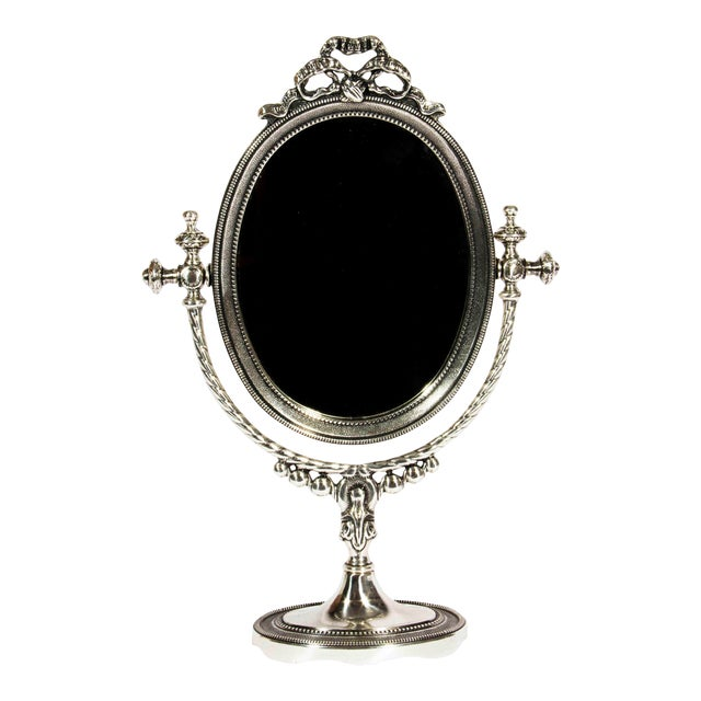 Silverplate One Sided Mirror With Stand For Sale