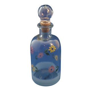 Vintage Casafina Hand Painted Glass Bottle W/ Stopper For Sale