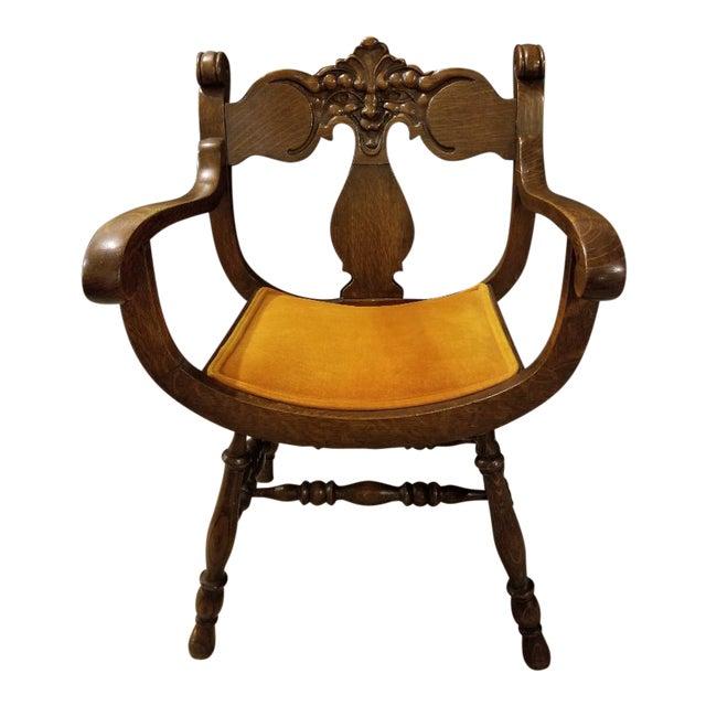 Vintage Mid-Century Curule Arm Chair For Sale