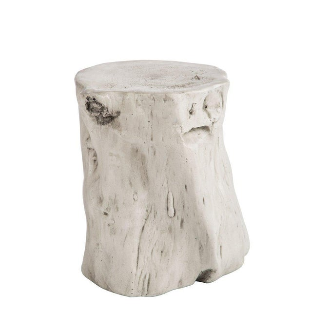 "New stool. More than 10 available. ""Mia"" log stool made from white fiberglass. Great accent in bohemian modern décor. 20 lbs."