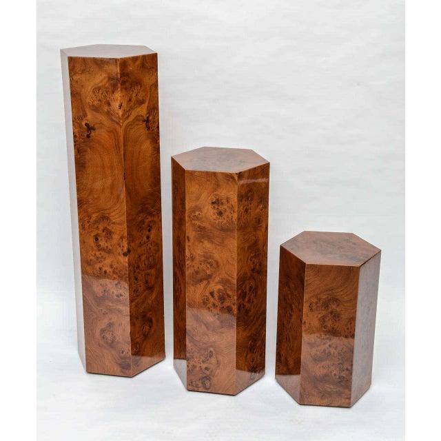 Burlwood Hexagonal Burl Wood Pedestals - Set of 3 For Sale - Image 7 of 10