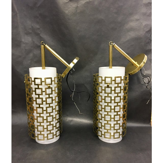 White Cylinder Pendant Light With Brass Fretwork - a Pair For Sale - Image 8 of 8