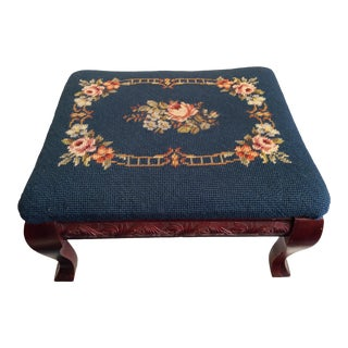 1940s Vintage Petit Point Needlepoint Floral Footstool For Sale