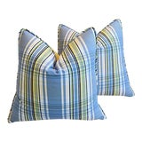 """Image of 22"""" Custom Tailored Blue & Yellow Plaid Feather/Down Pillows - Pair For Sale"""