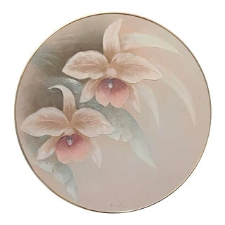 1980s Art Deco Revival Floral Round Oil Painting, Framed For Sale