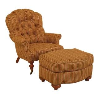 Ethan Allen Plaid Tufted Club Chair & Ottoman