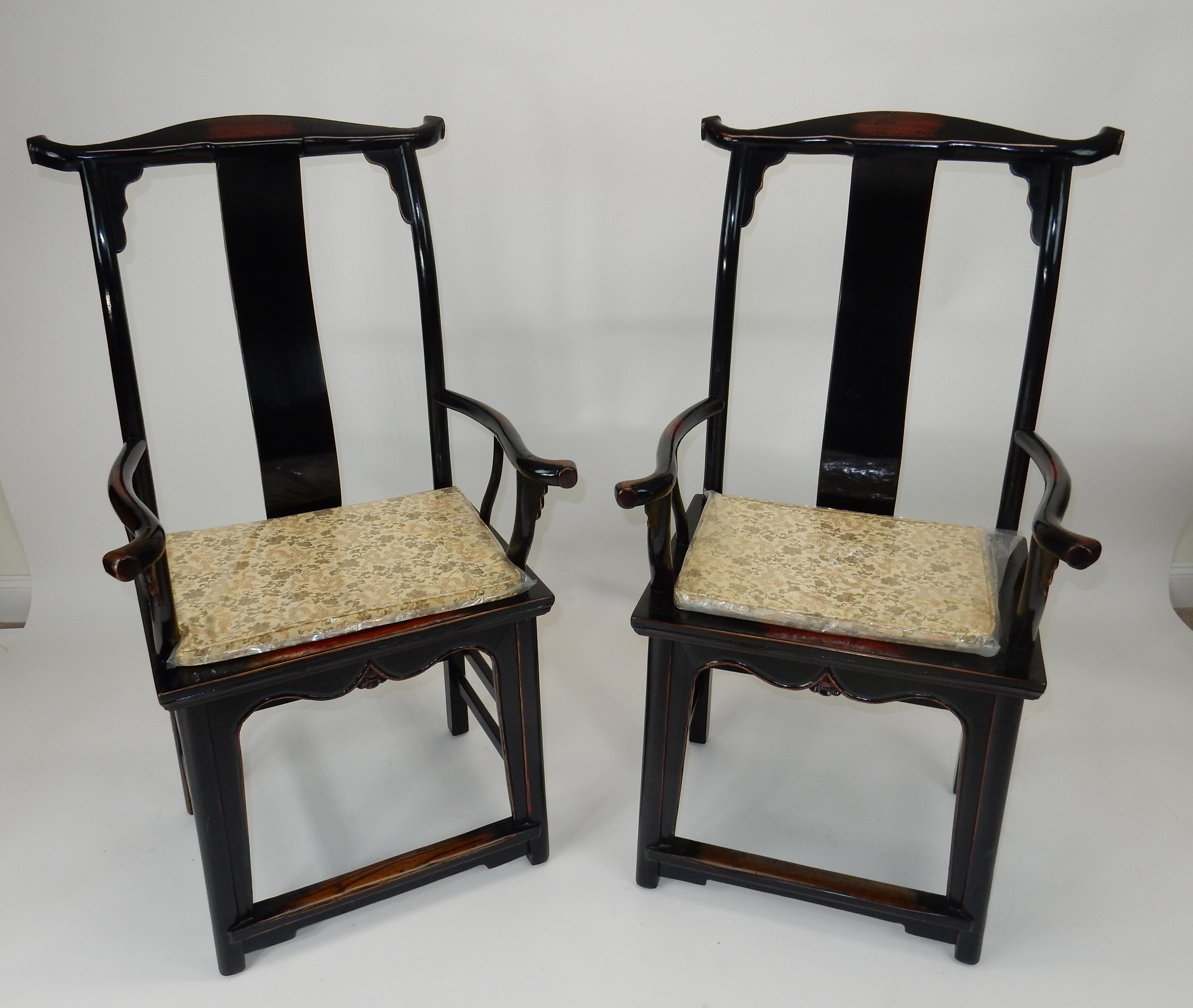 C. 1860 Antique Chinese Black Lacquer Yoke Back Chairs   A Pair   Image 2