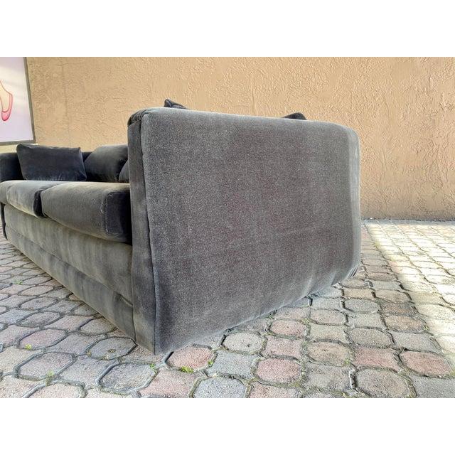 Restored 70s Gray Velvet Tuxedo Sofa For Sale In Tampa - Image 6 of 9