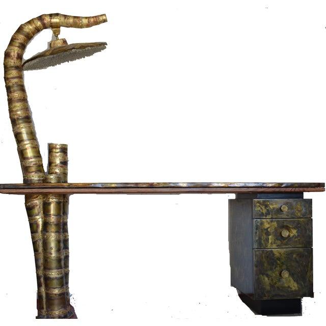 Scupltural Studio Brass Table Desk For Sale - Image 13 of 13