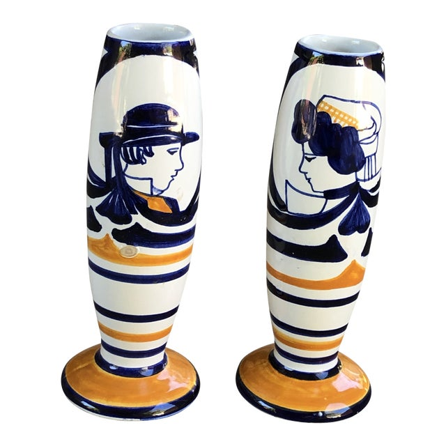 Antique Quimper Man Woman Orange and Blue Vase or Candlestick Holders - a Pair For Sale