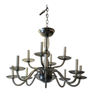 Murano Glass Mid-Century Modern 12-Arm Chandelier For Sale