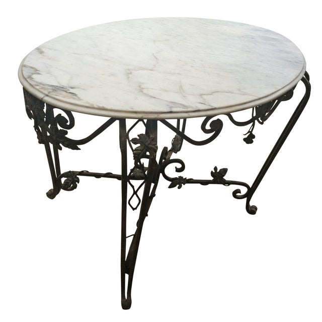 Solid Marble Top Beveled Wrought Iron Table - Image 1 of 10