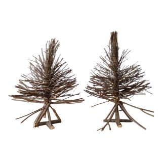 Rustic Twig Tabletop Xmas Trees - a Pair For Sale
