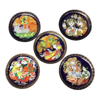 German Rosenthal Porcelain Aladdin Plates With Hangers - Set of 5 For Sale