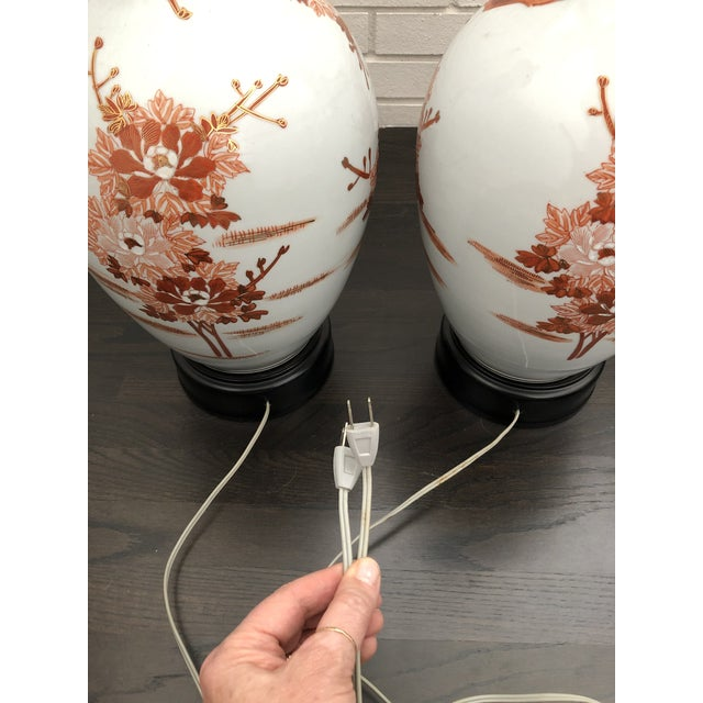 1960s Mid Century Japanese Peacock Kutani Lamps - a Pair For Sale In Charlotte - Image 6 of 11