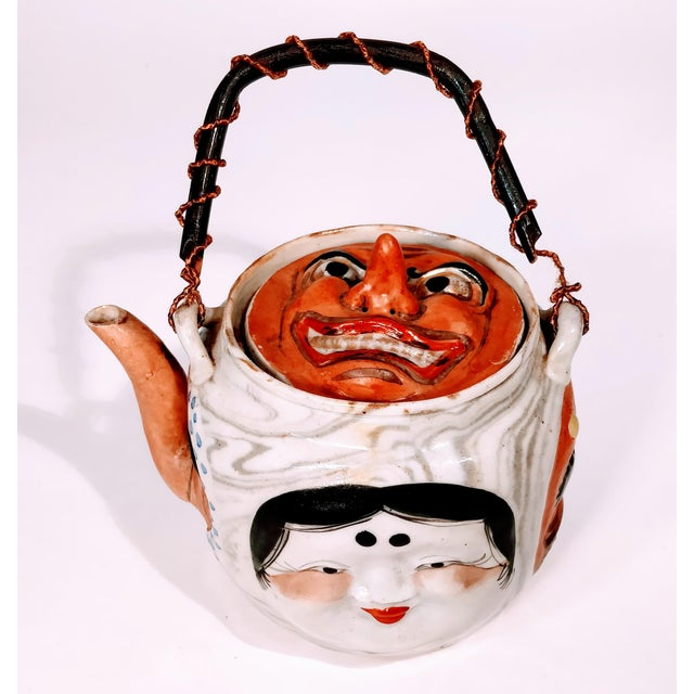 19th Century Antique Banko Five Face Mask Teapot For Sale - Image 6 of 12