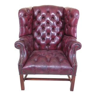 1980s Vintage Chesterfield Style Tufted Leather Chippendale Wing Chair For Sale