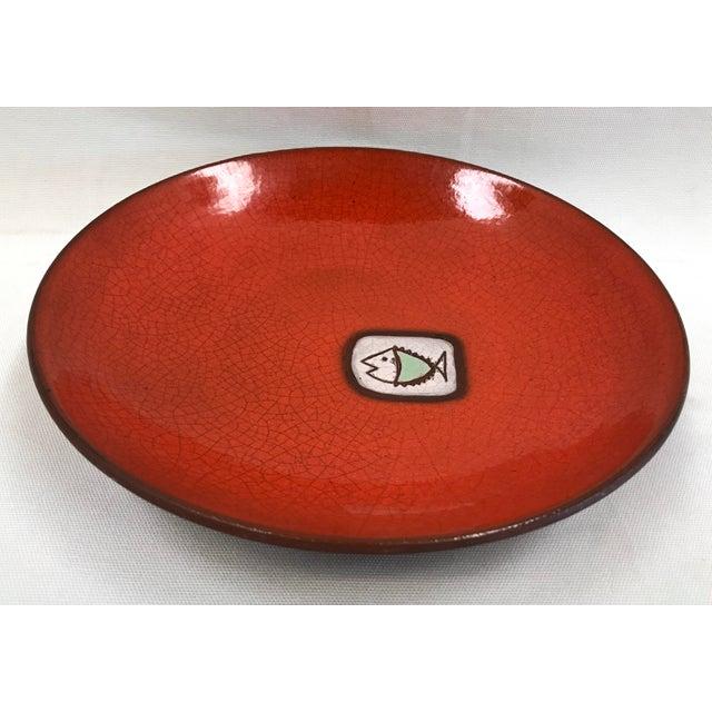 Mid 20th Century Vintage Saks Fifth Avenue French Orange Ceramic Fish Plate - Image 7 of 7