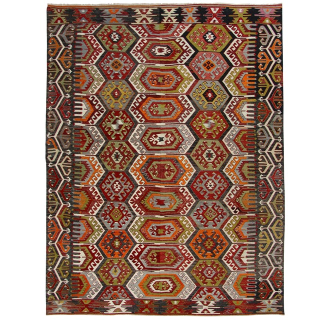 Semi-Antique Turkish Kilim Aydin Flatweave Rug - 7′1″ × 9′2″ For Sale