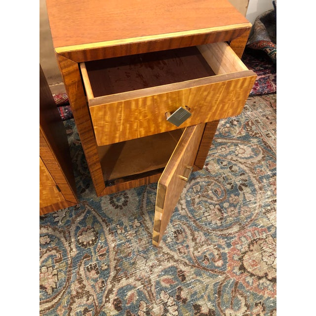 Mid-Century Modern Mid Century Art Deco Night Stands W Movingui Wood Vaneer - a Pair For Sale - Image 3 of 13