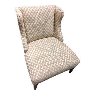 Scalalmandre Trellis Weave Sand Upholstered Slipper Chair For Sale