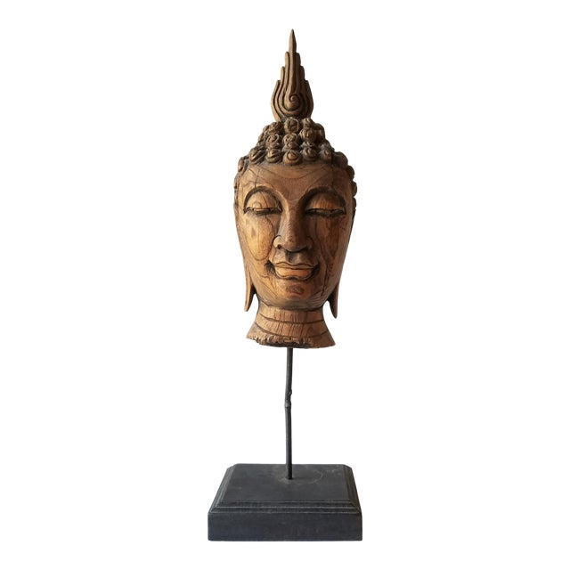 Vintage Hand Carved Wooden Buddha Head For Sale