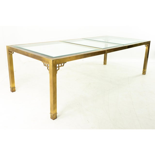Mastercraft Mid Century Solid Brass and Glass Expanding Dining Table For Sale - Image 10 of 13