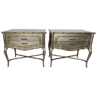 1980s Hollywood Regency Silver Gilt Wood Side Tables - a Pair For Sale