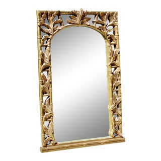 Vintage Serge Roche Style Hollywood Regency Gold Bamboo Palm Frond Leaves Mirror For Sale